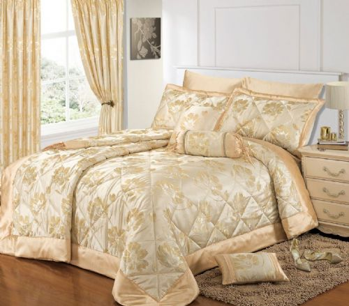 CREAM GOLD COLOUR STYLISH FLORAL JACQUARD LUXURY EMBELLISHED QUILTED BEDSPREAD